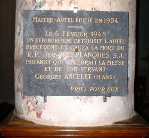Plaque de l'accid égl Thin 1945
