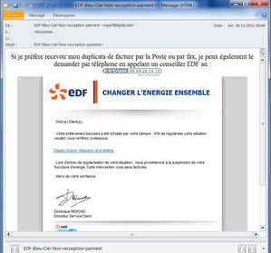 mail phishing EDF complet