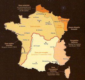 zone occupazione tedesca della Francia