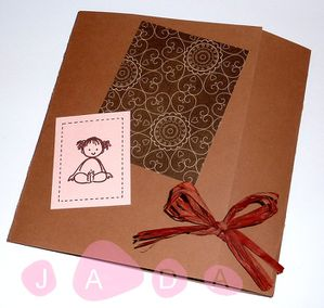 87 - faire part aline scrap chocolat taupe rose 1