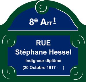 Plaque rue de Paris - Stephane Hessel