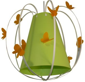 Suspension papillon vert anis et orange luminaire enfant lampe casse noisette for Chambre orange et vert anis