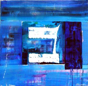 BLUE BETH Oil on canvas 80x80cm Private collection FRANCE