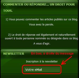 NEWSLETTER du BLOG