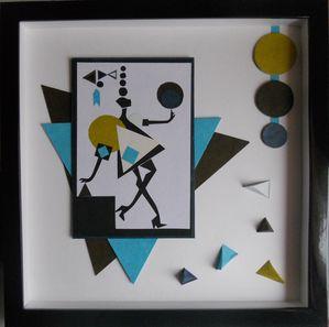 cadre origami et formes g om triques bleu et marron le