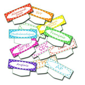 free printable school label planning- étiquette emplois du