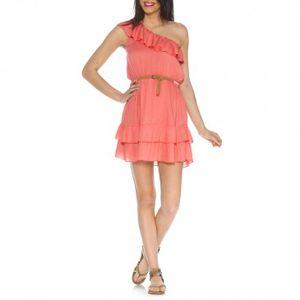 robe volantee asymetrique avec ceinture corail gemo 27.99