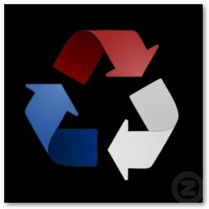 red white and blue recycling symbol poster-p228029005075198