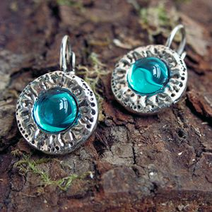 boucles oreilles metal argente medievales turquoise 100Ko09
