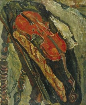 82 Soutine 1922 nature morte au vilon, pain & poisson kunst