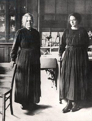 Madame Curie and her daughter, Irene, in their laboratory,