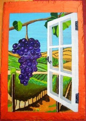 Fen tre ouverte sur vignobles peinture des 5 doigts for Regarder par la fenetre