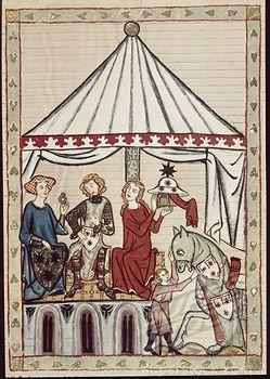 Codex Manesse Chevalier reçoit l'anneau de sa Madame