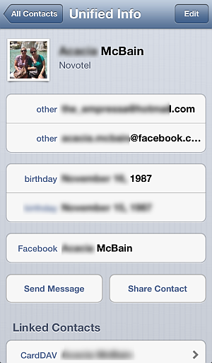 facebook contact entry as shown on iphone