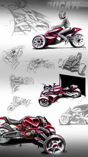 presentation ducati concept 3 wheels sketch and rough