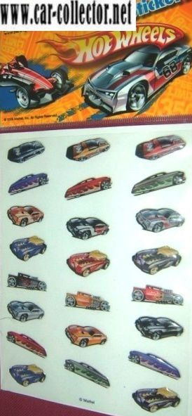 planche stickers hot wheels panini france.