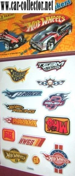 planche stickers hot wheels panini france..