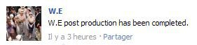 Madonna's movie ''W.E.'': Post production has been completed