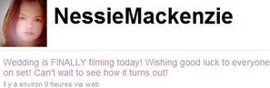 NessieMackenzie tweets abt filming the wedding