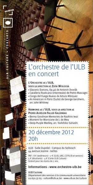 L'orchestre de l'ULB donnera un concert ce 20 décembre 2012