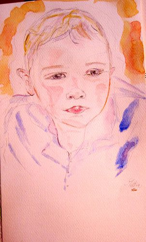 aquarelleportrait d'enfant atelier d'art adultes nimes cat