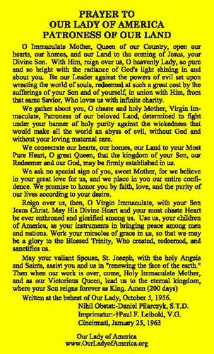 Prayer to Our Lady of America, Sister Mary Ephrem Mildred N