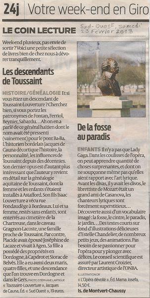 Isabelle de Montvert-Chaussy Sud-Ouest 23 fév 2013