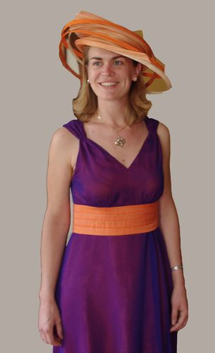 robe boule mousseline violet orange 3