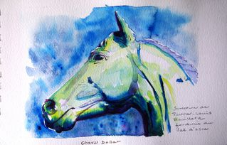 Cheval Dollar aquarelle carnet