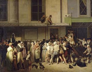 À l'entrée du Théâtre de l'Ambigu-comique 1800