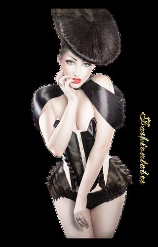 femme corset blanc et noir