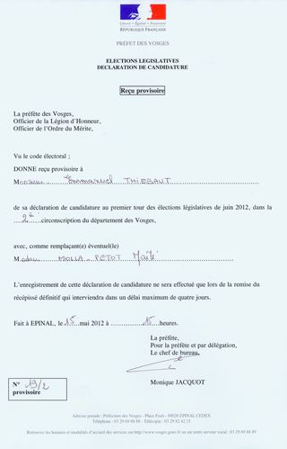 recipise declaration candidature depute