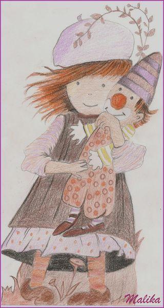 La petite fille et le clown