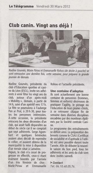 Le Télégramme 30 mars 2012