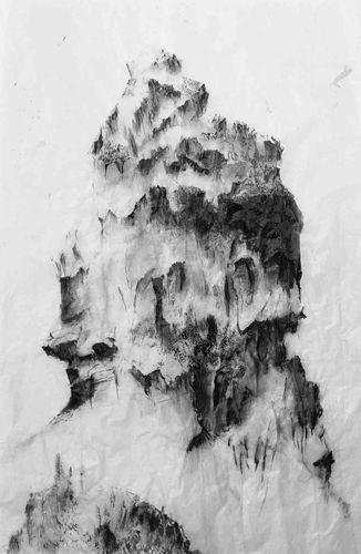 Montagne II. 2003. 107 x 200 cm, encre de Chine sur calque et caparol. Marc Biétry