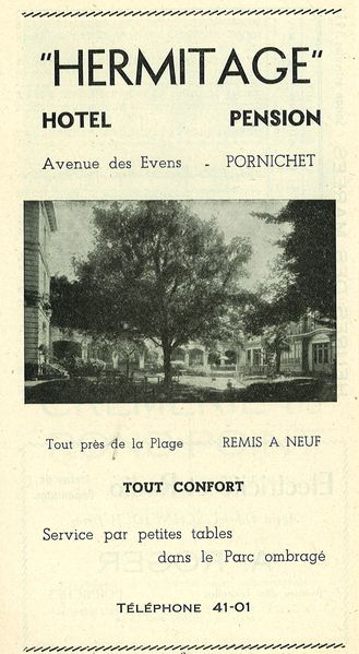 Publicit Hotel Pension Hermitage guide OT 1951