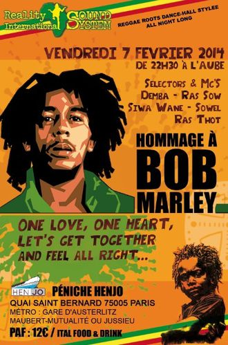 Homage BOB MARLEY-reality international-reggae sound-recto