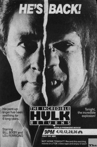 hulk returns 1988 ad tv guide bill bixby lou ferrigno rex s