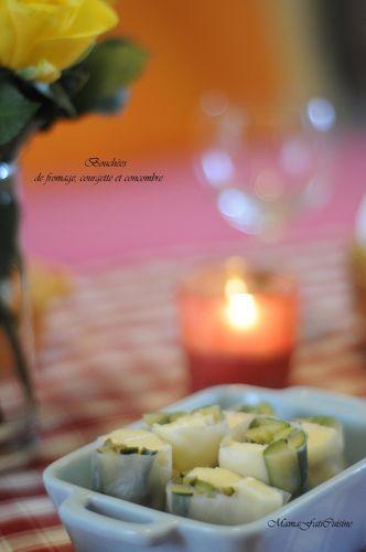 Bouchées de fromage, courgettes et concombre