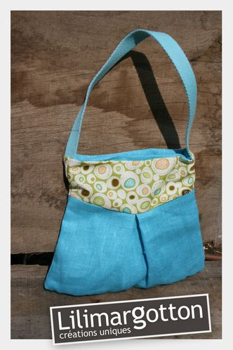 Premier Sac Pebbles in blue lin turquoise