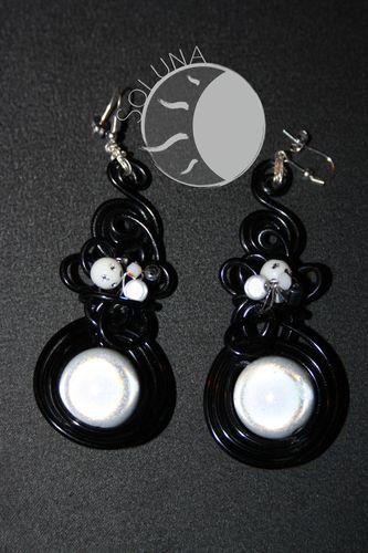 Boucles d'oreilles Flamenco Noir et blanc (3)