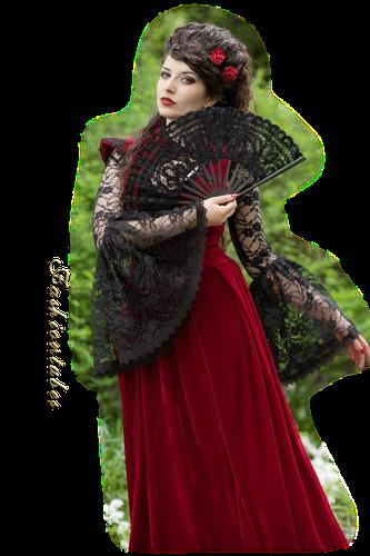 femme robe rouge eventail noir