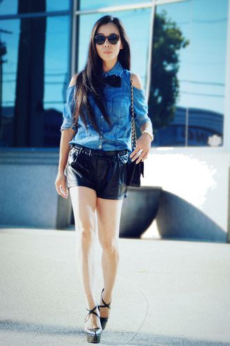 sky-blue-denim-forever21-shirt-black-faux-leather-zara-shor