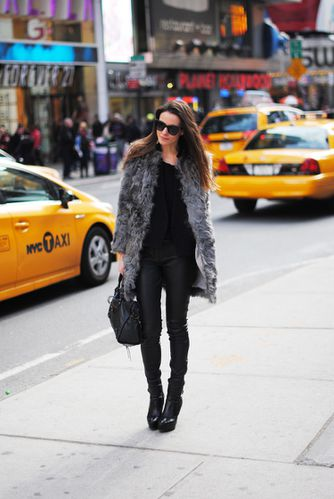 grey fur, leather pants
