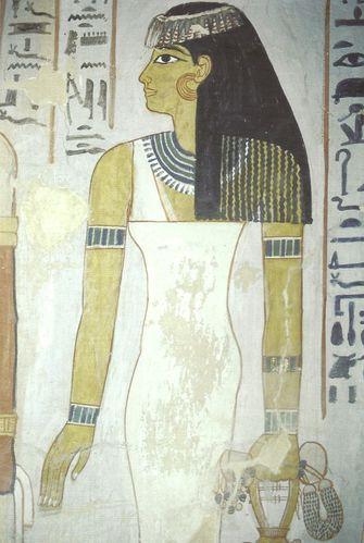 Magnifique peinture d'une femme et épouse de Sennefer dans