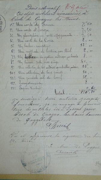 devis école 1884