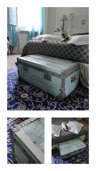 malle ancienne repeinte brocante gris turquoise
