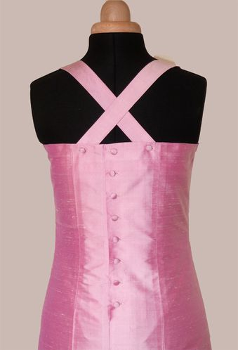 robe droite Typhaine soie rose tendre 2