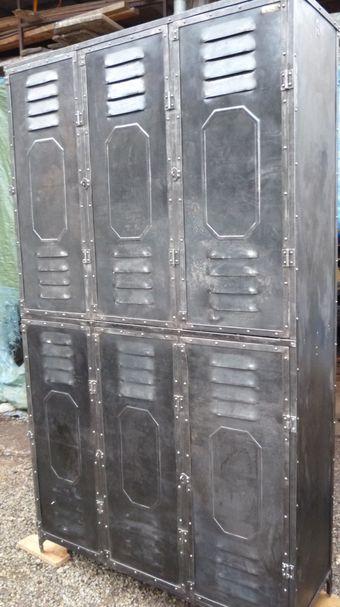 Vestiaire riveté 6 portes Schwartz-Hautmont 1930 207x126x4