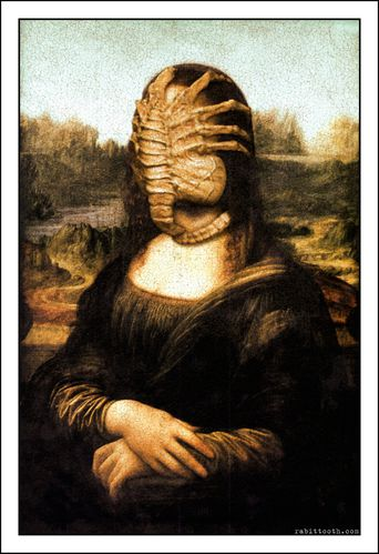 mona lisa with facehugger da vinci alien by rabittoot